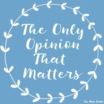 The Only Opinion That Matters - In Due Time Blog